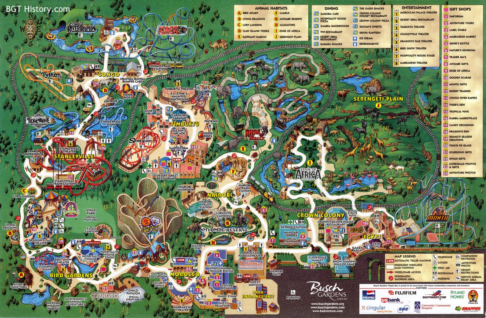 Maps BGT History Busch Gardens Tampa History – Busch Gardens Dining Plan