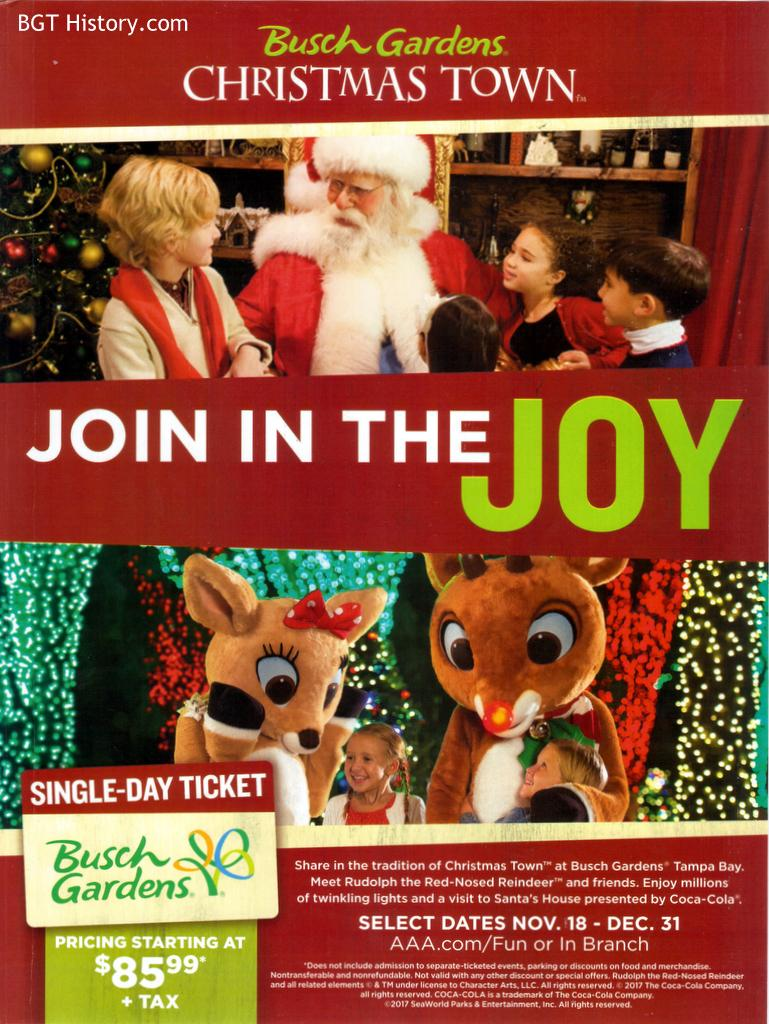 This Full Page Ad Appeared Inside The Back Cover Of The AAA Living Magazine  In Their Last Issue Of The Year Promoting Christmas Town At Busch Gardens  Tampa.